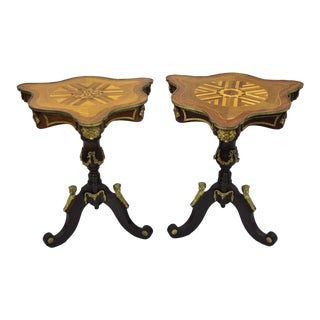 Louis XV French Style Repro Marquetry Inlay Bronze Figure Side Tables - a Pair