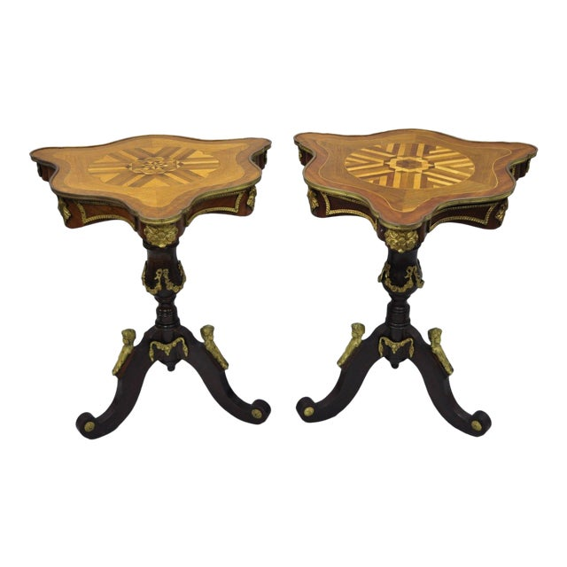 Louis XV French Style Repro Marquetry Inlay Bronze Figure Side Tables - a Pair For Sale