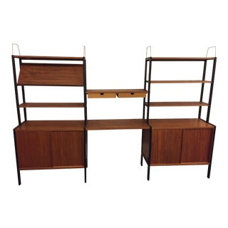 1950s Teak Wall Unit/Desk/Bookshelf by Bodafors, Made in Sweden For Sale