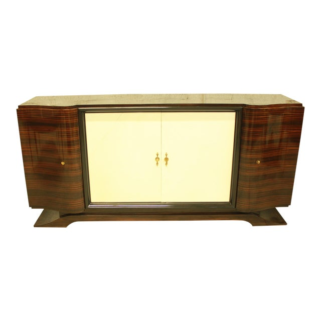 Classic French Art Deco Macassar Sideboard or Bar With Parchment Center Door By Maurice Rinck , Circa 1940s. - Image 1 of 11