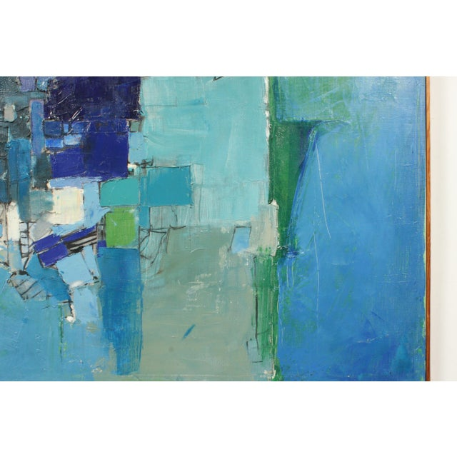 Mid-Century Blue Square Abstract Tommy Hansen For Sale In Nashville - Image 6 of 10
