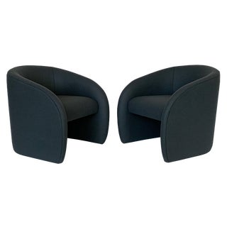 Directional Fully Upholstered Barrel Lounge Chairs - a Pair For Sale