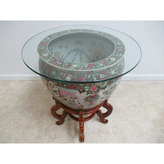 Asian Vintage Asian Pottery Fish Bowl Stand Lamp End Table Pedestal For Sale - Image 3 of 11