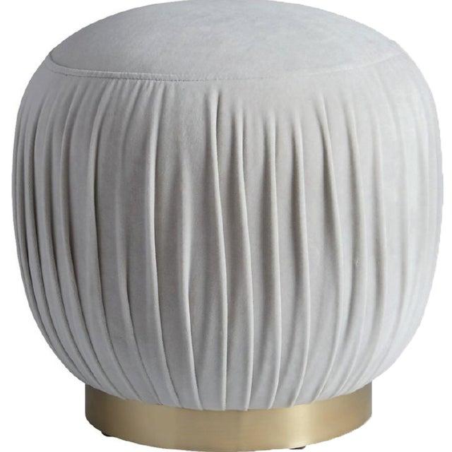 Velvet Round Brass Ottoman - Image 4 of 4