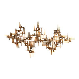 Mid Century Modern Abstract Nail Sculpture Wall Art For Sale