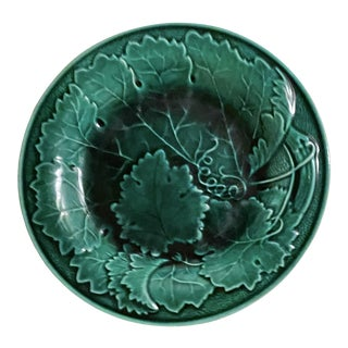 19th Century Vintage Majolica Green Ivy Plate For Sale