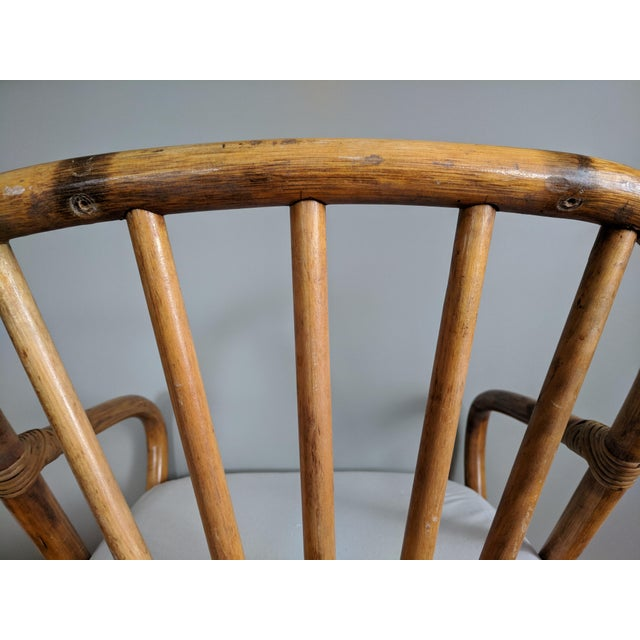 1960s Swivel Bamboo Armchairs - Set of 4 For Sale - Image 5 of 13