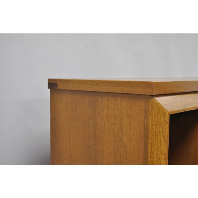 Brown 1960s Mid Century Modern Bassett Furniture Walnut Bookcase/Credenza For Sale - Image 8 of 13