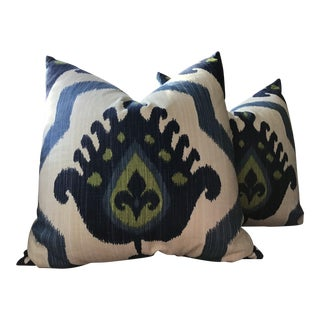 "Thibaut ""Myanmar Ikat"" Down Filled Pillows - a Pair For Sale"