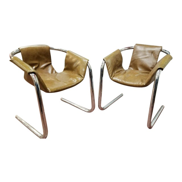 Italian Zermatt Sling Chairs by Vector Group in Original Distressed Cognac Vinyl and Tubular Chrome Frame - Pair For Sale