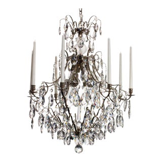 8 Arm Crystal Chandelier in Nickel Plated Brass For Sale