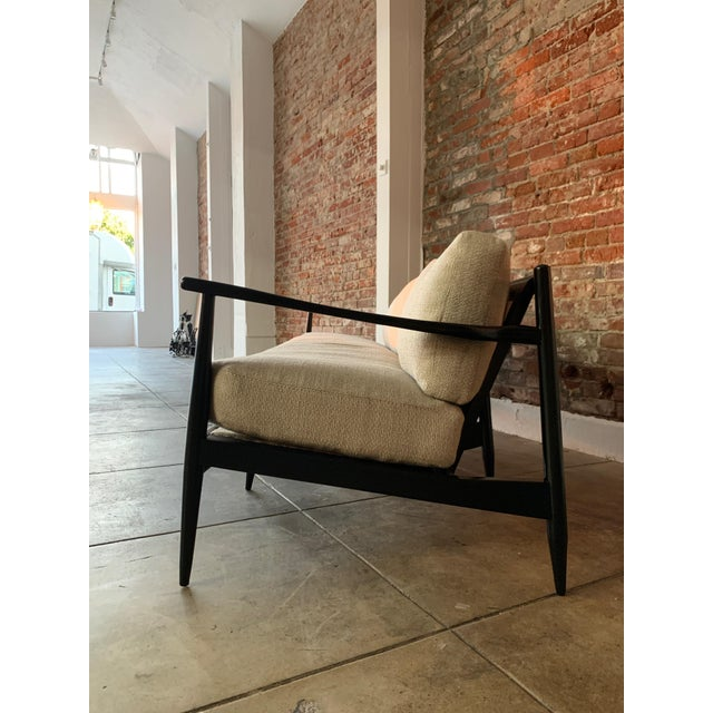 Danish MCM - Black Wood and Woven Cane Sofa in Belgian Linen For Sale - Image 4 of 7