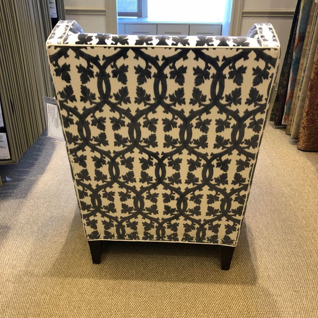 Traditional Black and White Textile Wingback Chair For Sale In New York - Image 6 of 8