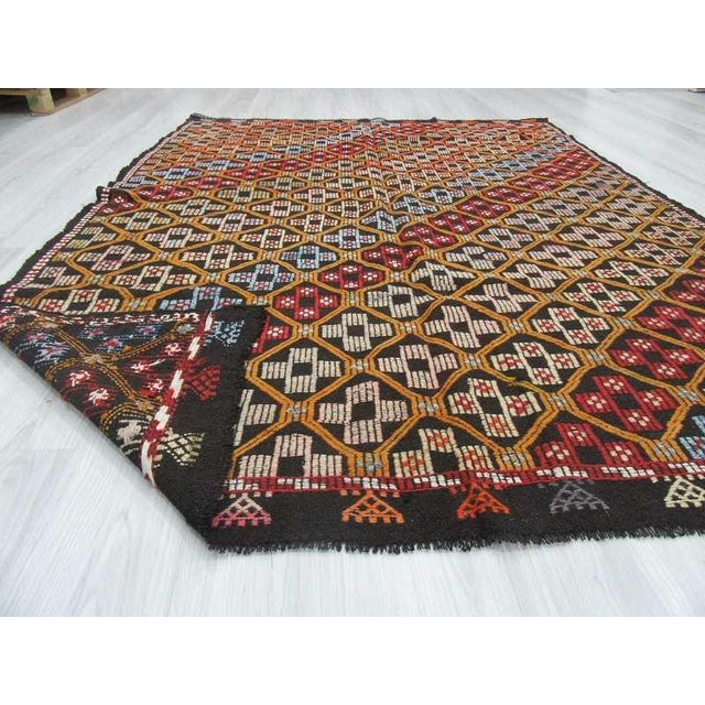 Turkish Kilim Embroidered Rug - 5′11″ × 7′11″ For Sale In Los Angeles - Image 6 of 6