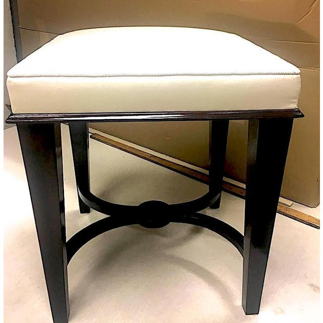 Hollywood Regency Andre Arbus Superb Pair of Neoclassic Stool Newly Covered in Silk For Sale - Image 3 of 9