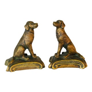 Vintage 1960s Gold Wood Sitting Dog Bookends, Pair For Sale