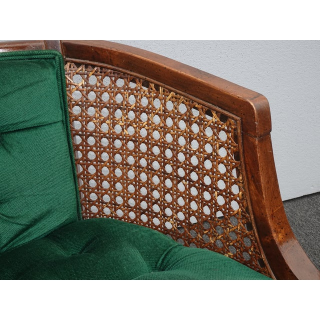 Vintage French Country Tufted Green Velvet Settee Loveseat W Cane #2 For Sale - Image 9 of 13
