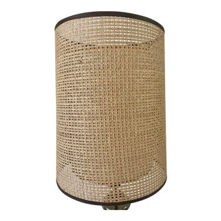 Mid-Century Modern Rattan Can Wicker and Fiberglass Double Drum Shade For Sale