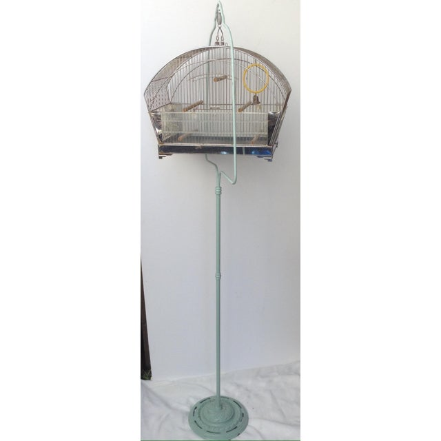 Metal Tweety Bird Cage on Stand For Sale - Image 7 of 7