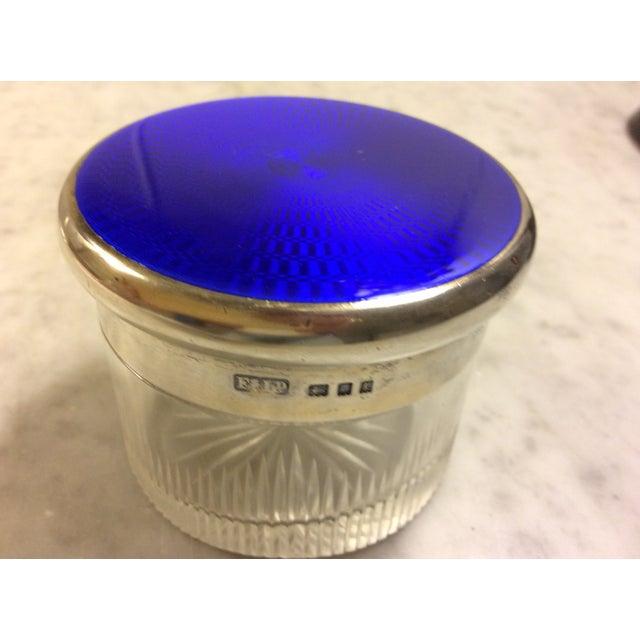 Antique Cobalt Enamel on Silver Crystal Powder Jar For Sale - Image 9 of 9