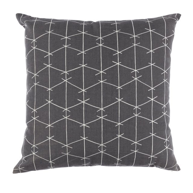 Contemporary Ferrick Mason Criss Cross Outdoor Custom Charcoal Pillow For Sale - Image 4 of 4