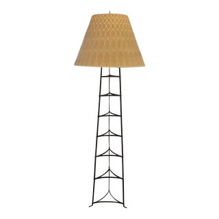 Iron Floor Lamp + Woven Lamp Shade For Sale