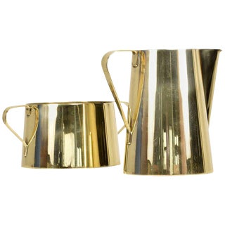 1960s Creamer and Sugar Bowl by Tommi Parzinger for Dorlyn Brass, Midcentury For Sale