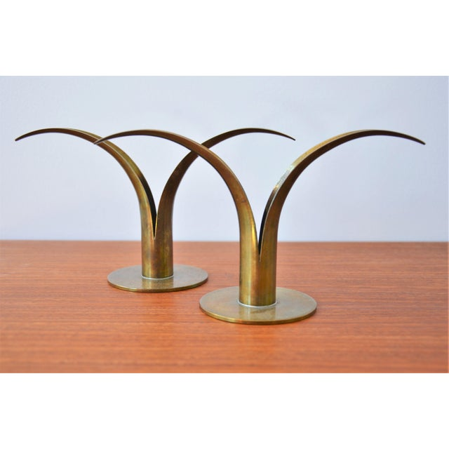 The Lily Brass Candle Holders by Ivar Ålenius Björk for Ystad Metall - a Pair For Sale In Richmond - Image 6 of 6
