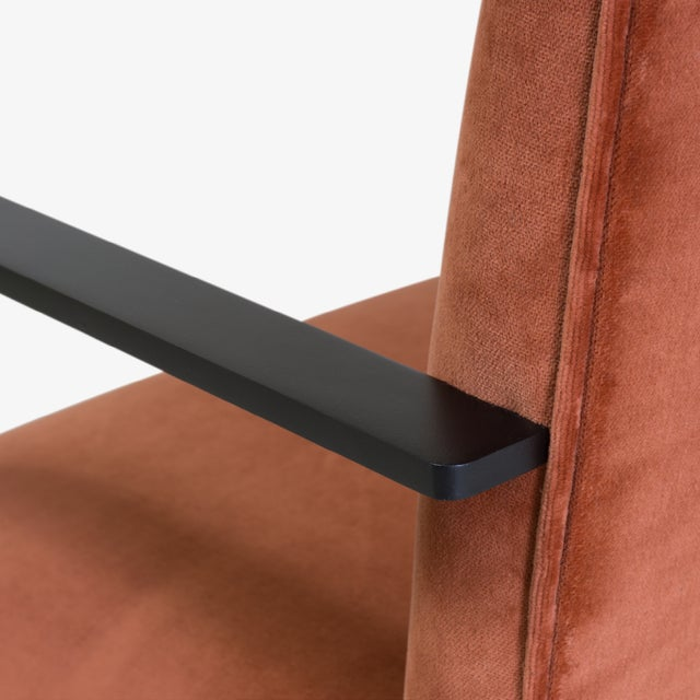 Orange Brno Flat-Bar Chairs in Rust Velvet, Obsidian Matte Frame For Sale - Image 8 of 11