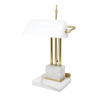 Vintage Rare White Marble, Glass and Brass Banker's Lamp For Sale