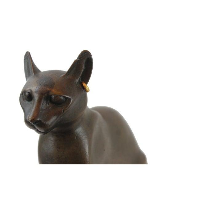 Art Deco Pasargad DC Vintage Bronze Egyptian Cat Sculpture For Sale - Image 3 of 8