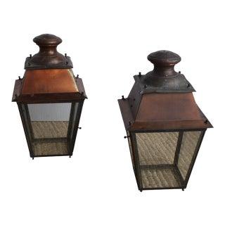 Vintage Industrial Lantern Pendants - A Pair