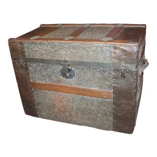 19th Century Trunk With Embossed Tin and Wood For Sale