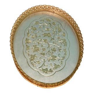 Vintage French Mirror Perfume Tray For Sale
