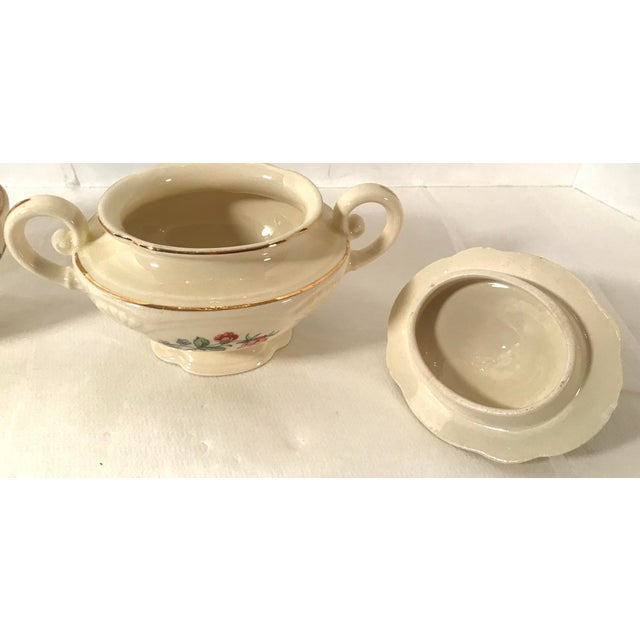 Homer Laughlin Floral Creamer and Sugar Bowl For Sale In Dallas - Image 6 of 11