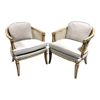 French Louis XVI Style Vintage Painted Barrel Back Caned Bergere Chairs—a Pair For Sale