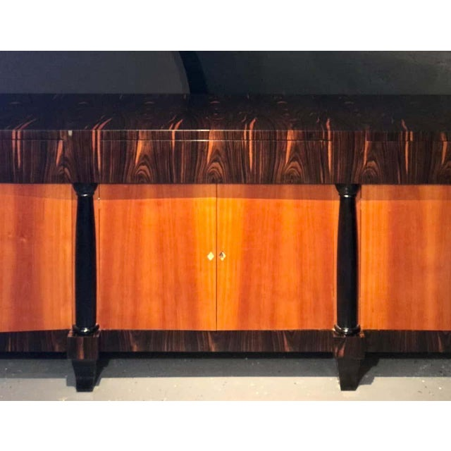 Palatial Six Door Macassar Sideboard Cabinet Ebonized Column and Feet Support For Sale - Image 12 of 13