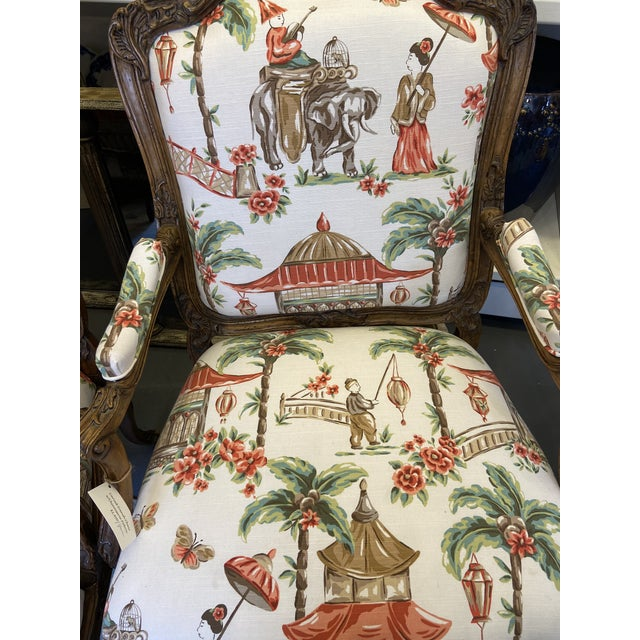 1920s 1920s French Carved Wood Chairs with Chinoiserie Fabric - a Pair For Sale - Image 5 of 10