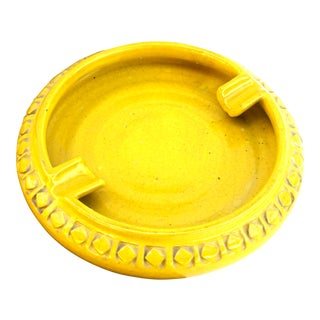 Aldo Londi for Bitossi Large Yellow Ceramic Cigar Ashtray Bowl Catchall For Sale