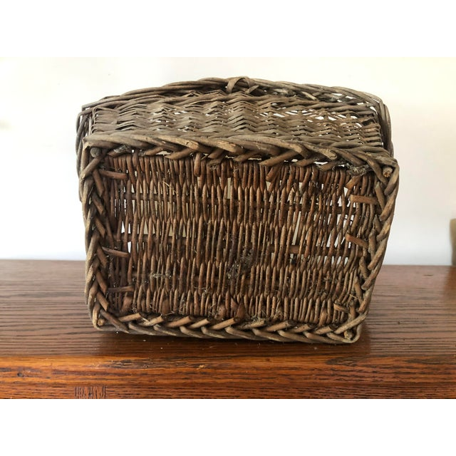 Brown Antique Wicker Basket With Handle For Sale - Image 8 of 12
