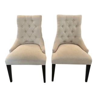 Restoration Hardware Martine Tufted Dining Chairs - a Pair For Sale