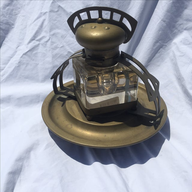 Brass & Crystal Inkwell - Image 2 of 5