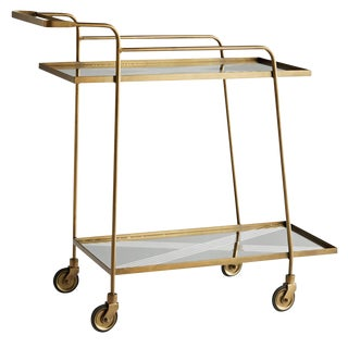 Arteriors Modern Art Deco Style Geometric Antique Brass Finished Odette Bar Cart For Sale