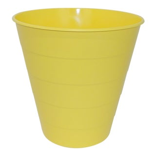 Mid-Century Modern Yellow Plastic Trash Can