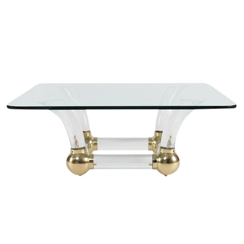 1970S SABRE-LEG LUCITE, BRASS AND GLASS COFFEE TABLE For Sale