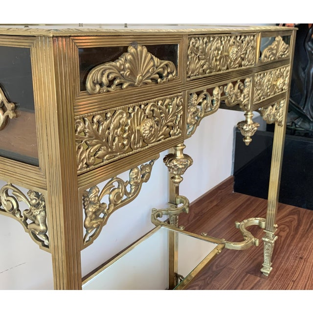 Metal 19th French Bronze Mirrored Dressing Table or Vanity With Three Drawers For Sale - Image 7 of 12