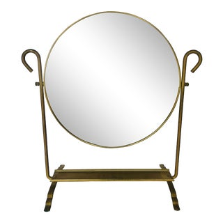 Vintage Brass Vanity Mirror For Sale