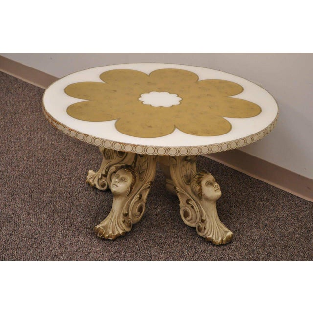 1960s Hollywood Regency Figural Carved Faces Gold Leaf Round Coffee Table For Sale - Image 10 of 11