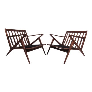 Pair of Poul Jensen Style Teak Lounge Chairs For Sale