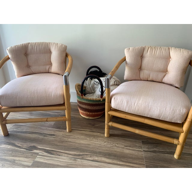 Bamboo and Chrome Lounge Chairs- A Pair For Sale - Image 11 of 12